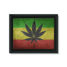 Green Yellow & Red Cannabis Framed Eco-Canvas Wall Decor Flagdesignproducts.com