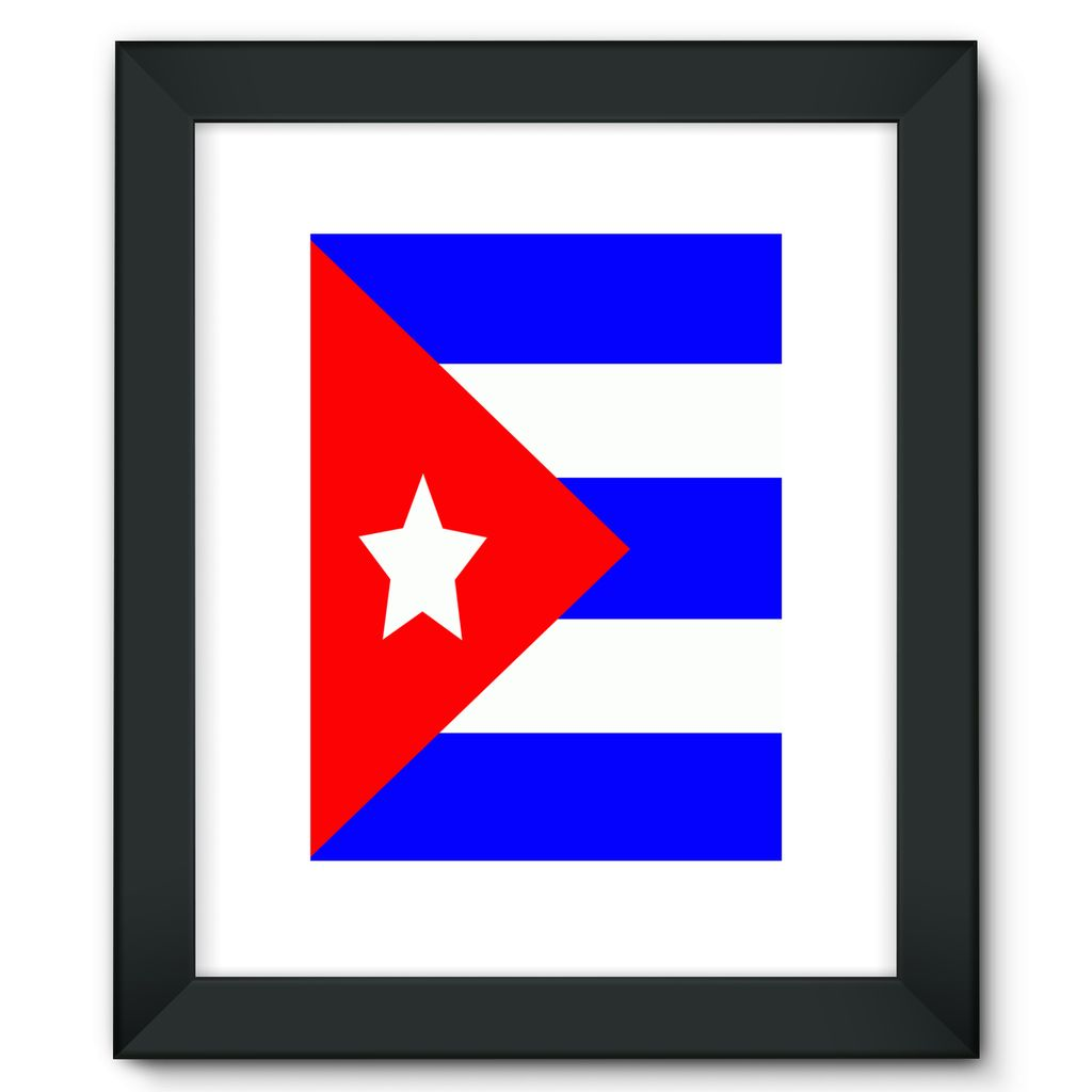Flag Of Cuba Framed Fine Art Print Wall Decor Flagdesignproducts.com