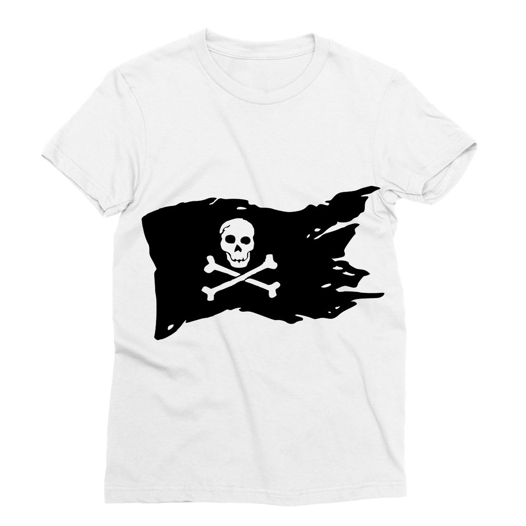 Ripped Pirate Flag Sublimation T-Shirt Apparel Flagdesignproducts.com