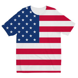 America Flag Kids Sublimation T-Shirt Apparel Flagdesignproducts.com