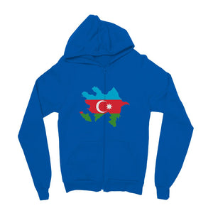 Azerbaijan Continent Flag Kids Zip Hoodie Apparel Flagdesignproducts.com