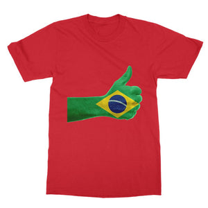 Brazil Hand Flag Softstyle Ringspun T-Shirt Apparel Flagdesignproducts.com