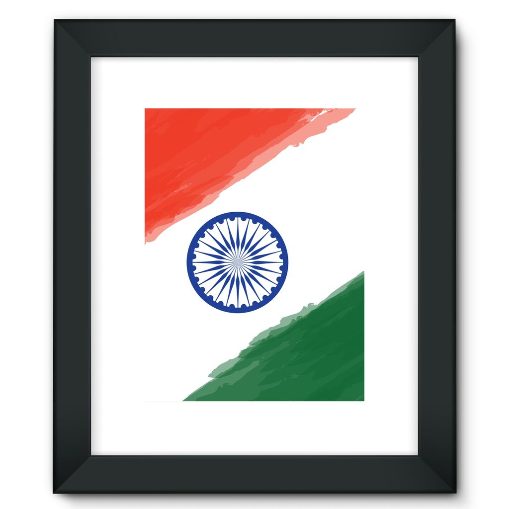 Watercolor India Flag Framed Fine Art Print Wall Decor Flagdesignproducts.com