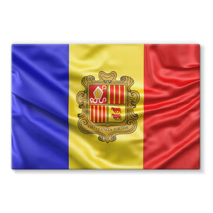 Waving Andorra Fabric Flag Stretched Canvas Wall Decor Flagdesignproducts.com
