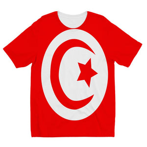 Flag Of Tunisia Kids Sublimation T-Shirt Apparel Flagdesignproducts.com