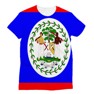 Flag Of Belize Sublimation T-Shirt Apparel Flagdesignproducts.com