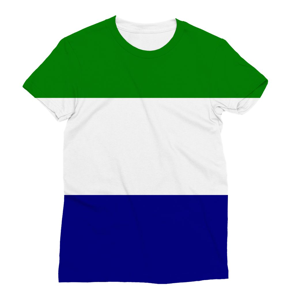 Flag Of Sierra Leone Sublimation T-Shirt Apparel Flagdesignproducts.com