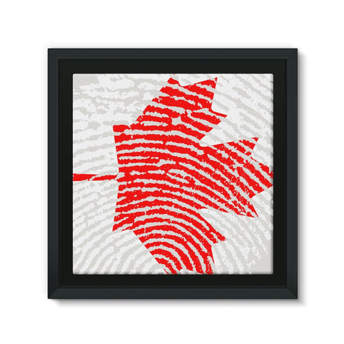 Canada Finger Print Flag Framed Canvas Wall Decor Flagdesignproducts.com