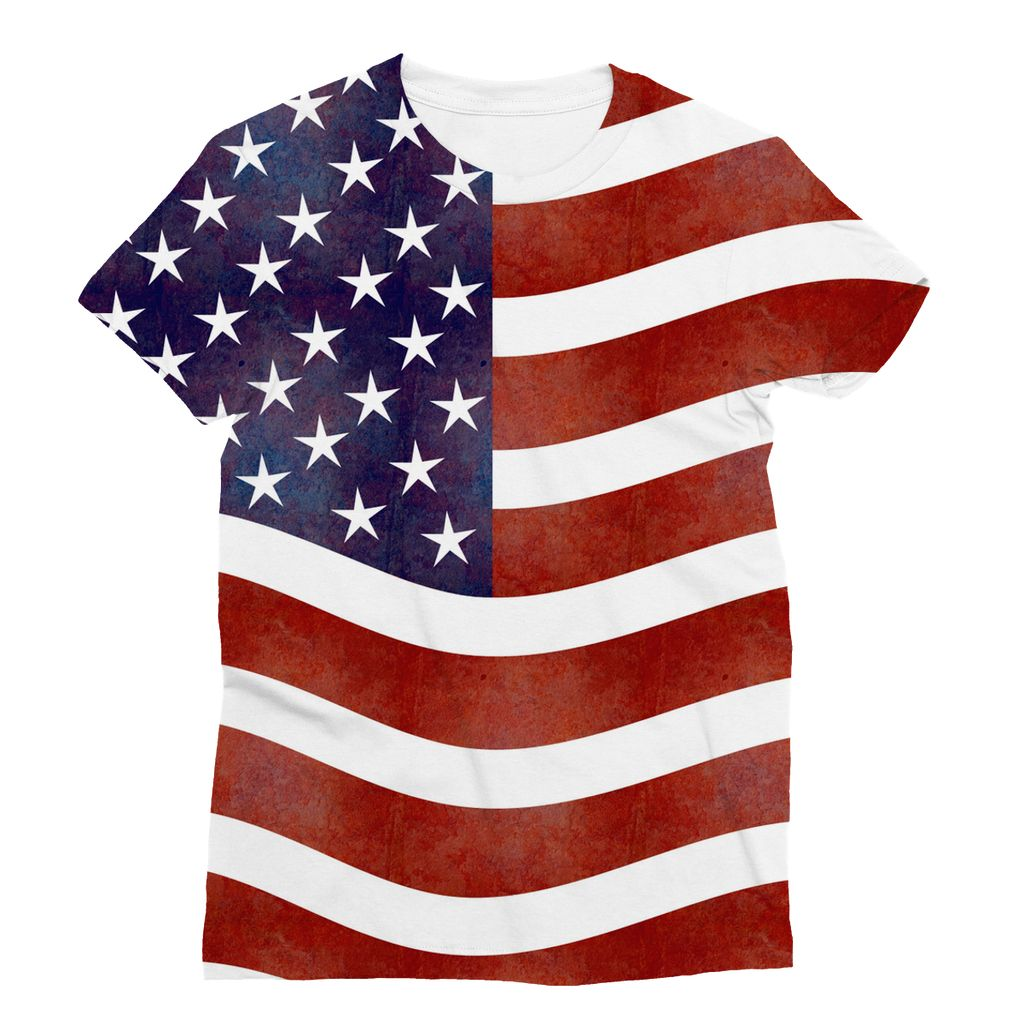 Waving Old Usa Flag Sublimation T-Shirt Apparel Flagdesignproducts.com