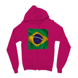 Waving Brazil Flag Kids Zip Hoodie Apparel Flagdesignproducts.com