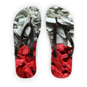 Poland Wood Chips Flag Flip Flops Accessories Flagdesignproducts.com