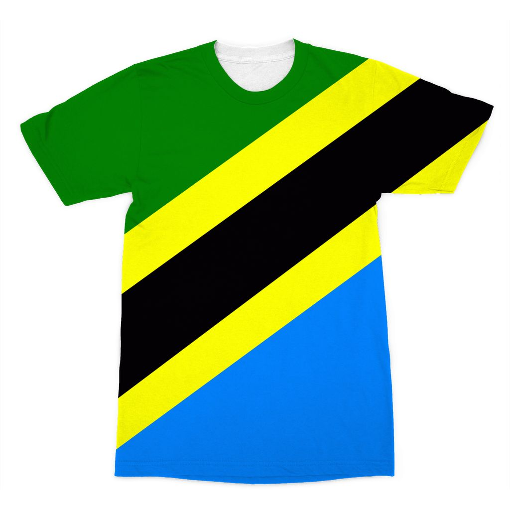 Flag Of Tanzania Sublimation T-Shirt Apparel Flagdesignproducts.com