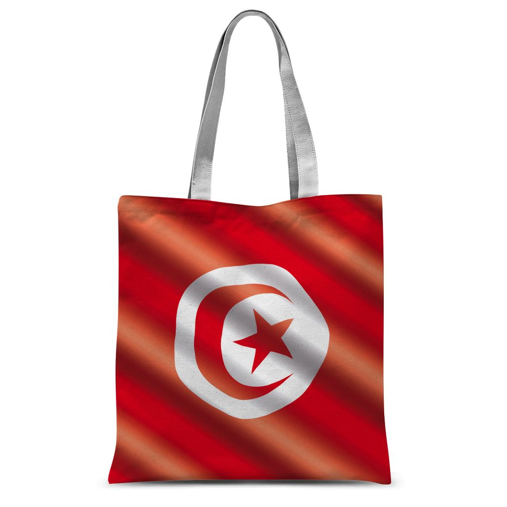 Waving Tunisia Flag Sublimation Tote Bag Accessories Flagdesignproducts.com