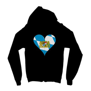 Bavaria Heart Flag Kids Zip Hoodie Apparel Flagdesignproducts.com