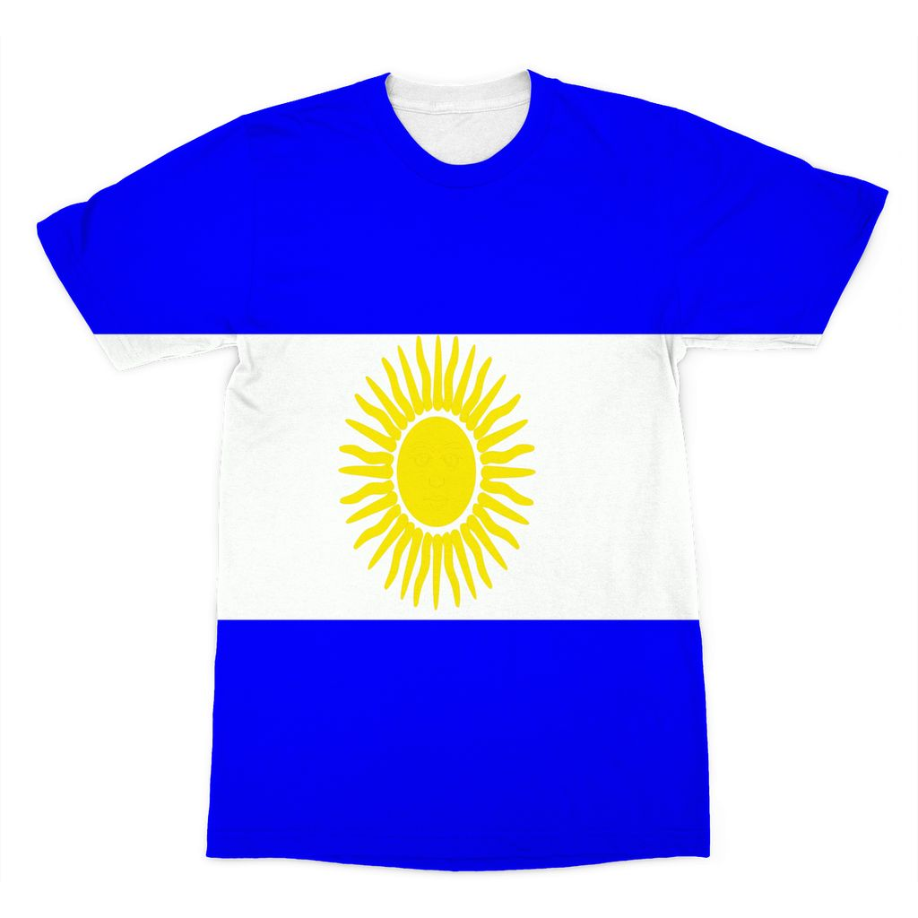 Flag Of Argentina Sublimation T-Shirt Apparel Flagdesignproducts.com