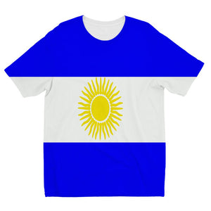Flag Of Argentina Kids Sublimation T-Shirt Apparel Flagdesignproducts.com