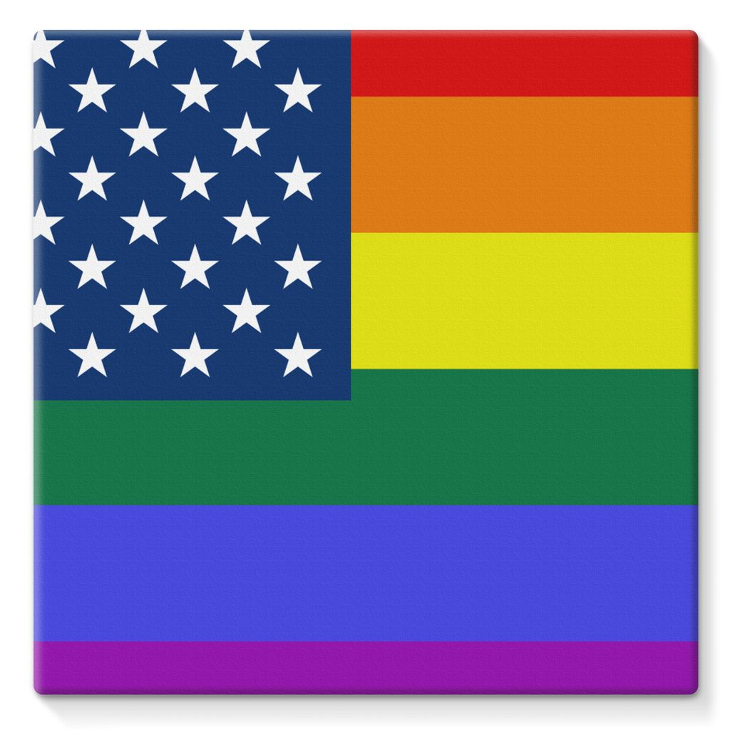 Colorful Usa Rainbow Flag Stretched Canvas Wall Decor Flagdesignproducts.com