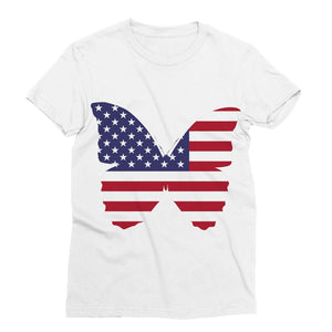 Usa Flag Butterfly Sublimation T-Shirt Apparel Flagdesignproducts.com