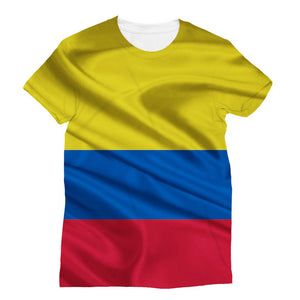 Waving Colombia Fabric Flag Sublimation T-Shirt Apparel Flagdesignproducts.com