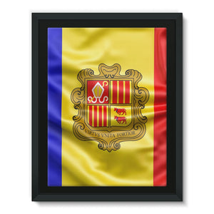 Waving Andorra Fabric Flag Framed Canvas Wall Decor Flagdesignproducts.com