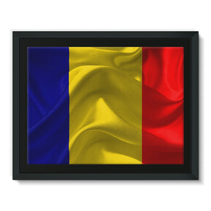 Romania Fabric Flag Framed Canvas Wall Decor Flagdesignproducts.com