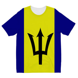 Flag Of Barbados Kids Sublimation T-Shirt Apparel Flagdesignproducts.com