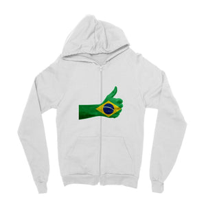 Brazil Hand Flag Kids Zip Hoodie Apparel Flagdesignproducts.com
