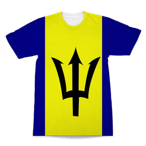 Flag Of Barbados Sublimation T-Shirt Apparel Flagdesignproducts.com