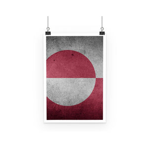 Grunge Greenland Flag Poster Wall Decor Flagdesignproducts.com