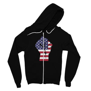 America First Hand Flag Fine Jersey Zip Hoodie Apparel Flagdesignproducts.com
