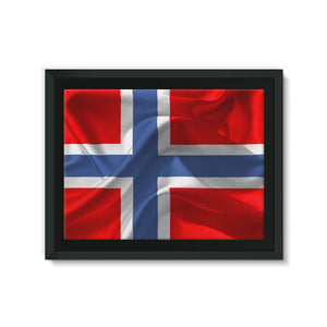 Flag Of Norway Framed Eco-Canvas Wall Decor Flagdesignproducts.com