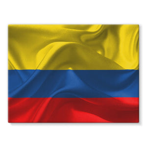 Waving Fabric Colombia Flag Stretched Canvas Wall Decor Flagdesignproducts.com