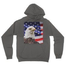 American Eagle and USA Flag California Fleece Pullover Hoodie