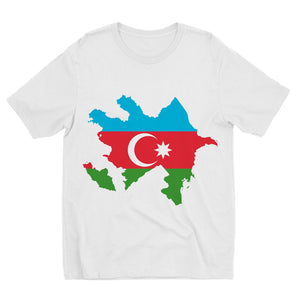Azerbaijan Continent Flag Kids Sublimation T-Shirt Apparel Flagdesignproducts.com