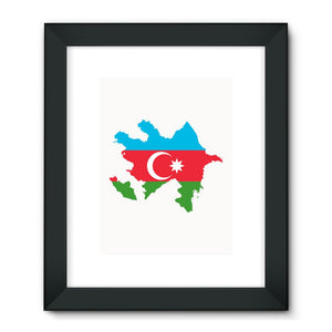 Azerbaijan Continent Flag Framed Fine Art Print Wall Decor Flagdesignproducts.com