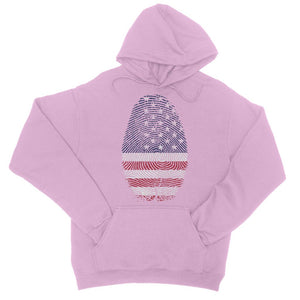 Usa Flag Finger Print College Hoodie Apparel Flagdesignproducts.com