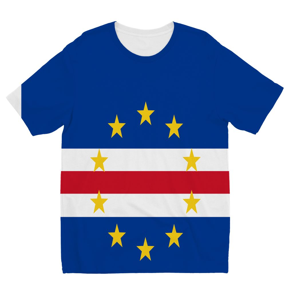 Flag Of Cape Verde Kids Sublimation T-Shirt Apparel Flagdesignproducts.com