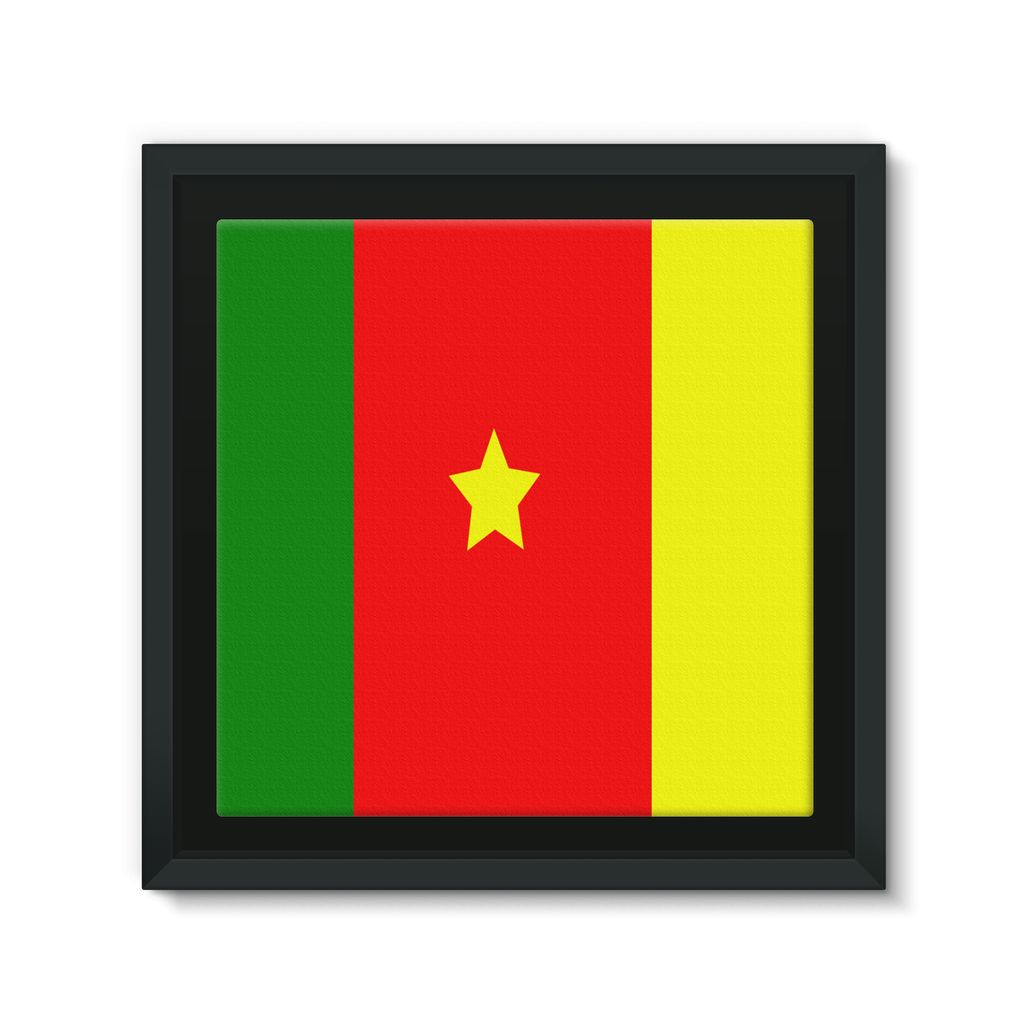 Flag Of Cameroon Framed Canvas Wall Decor Flagdesignproducts.com