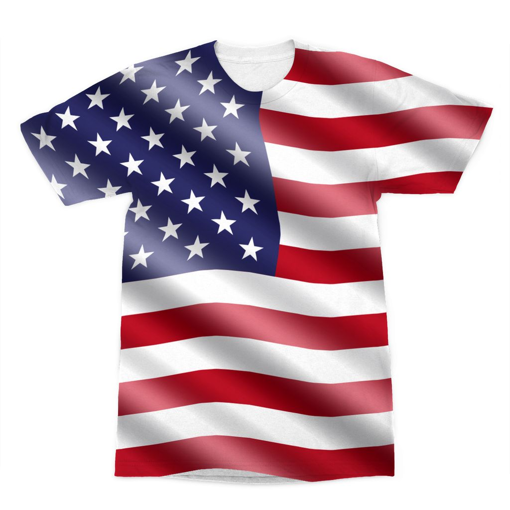 Waving United States Flag Sublimation T-Shirt Apparel Flagdesignproducts.com