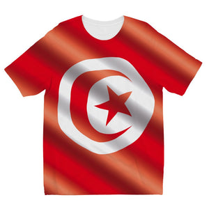 Waving Tunisia Flag Kids Sublimation T-Shirt Apparel Flagdesignproducts.com