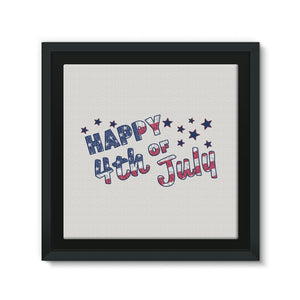 4Th July Usa Text Flag Framed Canvas Wall Decor Flagdesignproducts.com
