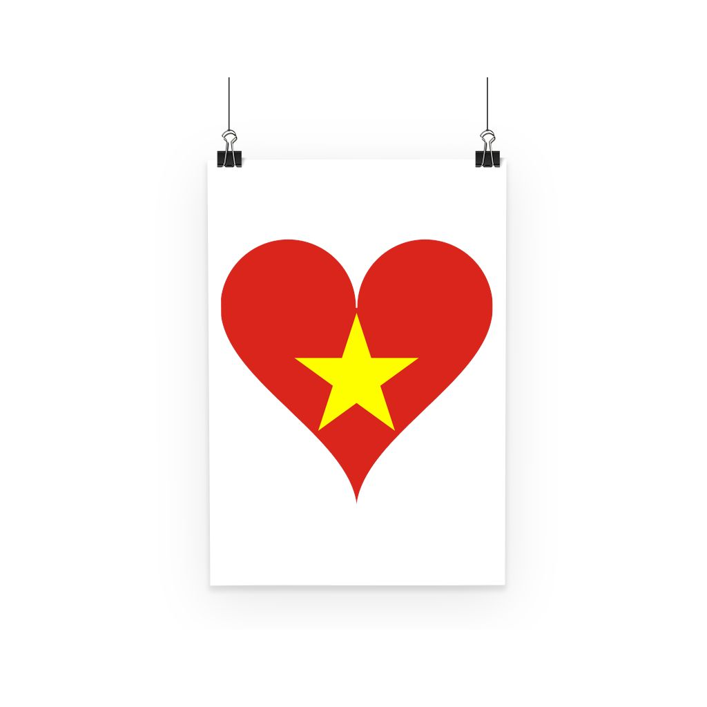 Vietnam Heart Flag Poster Wall Decor Flagdesignproducts.com