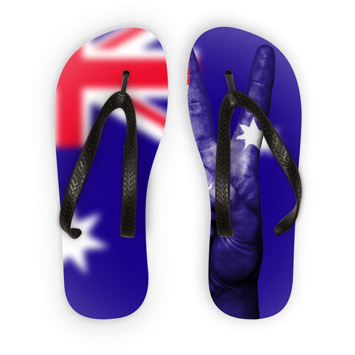 Australia Flag And Hand Flip Flops Accessories Flagdesignproducts.com