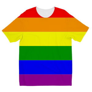 Colorful Rainbow Lgbt Flag Kids Sublimation T-Shirt Apparel Flagdesignproducts.com