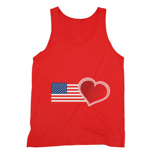 Usa Flag And Heart Fine Jersey Tank Top Apparel Flagdesignproducts.com
