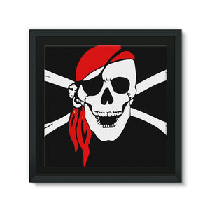 Bones And Skull Pirate Flag Framed Canvas Wall Decor Flagdesignproducts.com