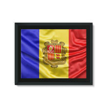 Waving Andorra Fabric Flag Framed Eco-Canvas Wall Decor Flagdesignproducts.com