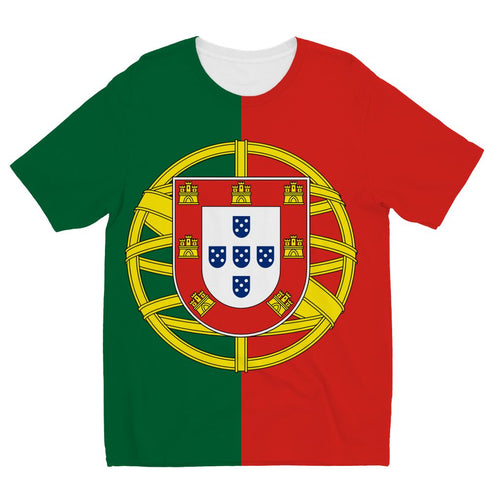 Basic Portugal Flag Kids Sublimation T-Shirt Apparel Flagdesignproducts.com