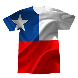 Waving Chile Flag Sublimation T-Shirt Apparel Flagdesignproducts.com