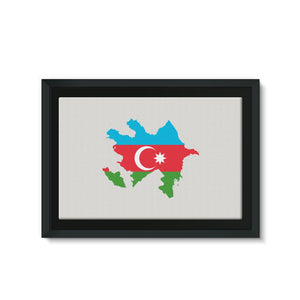 Azerbaijan Continent Flag Framed Canvas Wall Decor Flagdesignproducts.com